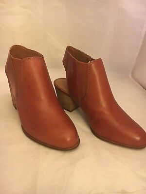 Red Leather High Heel Boot - LUCKY BRAND Red Brown Leather High-Heel Slingback Pull-on Booties Boots Size 5.5
