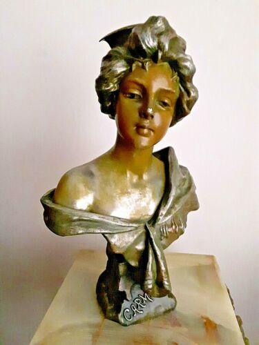 "E. Villanis 1890 Art Nouveau Bronze Bust 16"" Tall - Carmela"