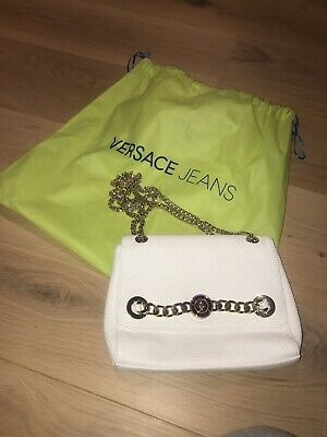 White Versace Jeans Bag With Gold Shoulder Chain - Glamorous