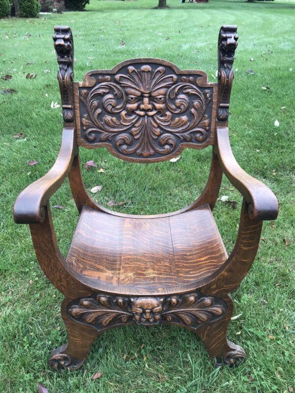 Antique Oak Chair Heavily Carved Lion Head Gargoyle Old Man Winter Castle Gothic