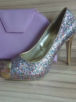 Nine West Ladies lilac glitter Shoes Size 4  with FREE Jacques vert clutch bag