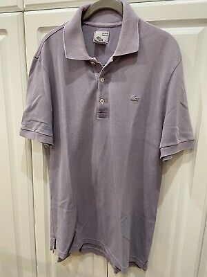 Men's Size 5 Large Lacoste Polo Shirt Short Sleeve Polo Gray Vintage Washed