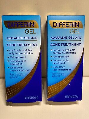Differin Gel Adapalene 0.1% Acne Treatment 2-Pack 0.5oz each FDA-Approved 06/22
