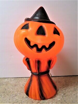 Vintage Halloween Lighted Pumpkin Blow Mold Empire Plastic 1969 Jack o Lantern