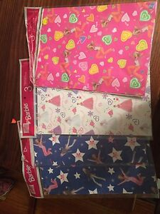 4 packs of 3 Barbie Wrapping Paper Kitchener / Waterloo Kitchener Area image 1