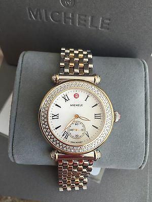$2200 MWW16A000066 BRAND NEW MICHELE women's caber two tone gold / silver watch