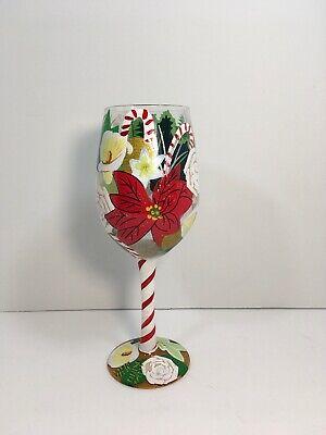 Lolita Holiday Beauty Christmas Custom Hand Painted Wine Glass Rare Retired (Custom Barware)