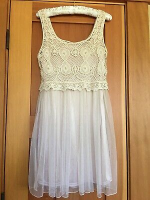 Pretty Angel Ivory Party Dress Sz SMALL Crocheted Bust, Sheer Lined Skirt EUC ()