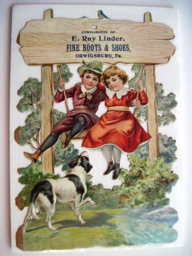 "Charming Die Cut Victorian Trade Card - ""E.Ray Linder Shoes"" w/ Blue Bird  *"