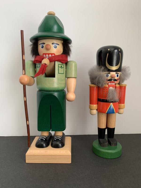 "Steinbach Hiker Nutcracker LOT OF 2 Germany 🇩🇪 10"" & 7.5"" Tall VINTAGE"