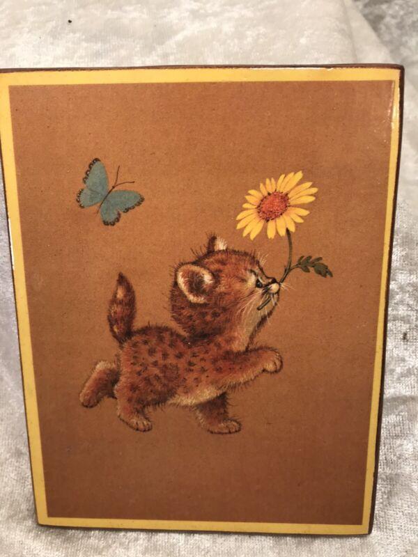 Vintage Kitty Cat Decoupage Plaque