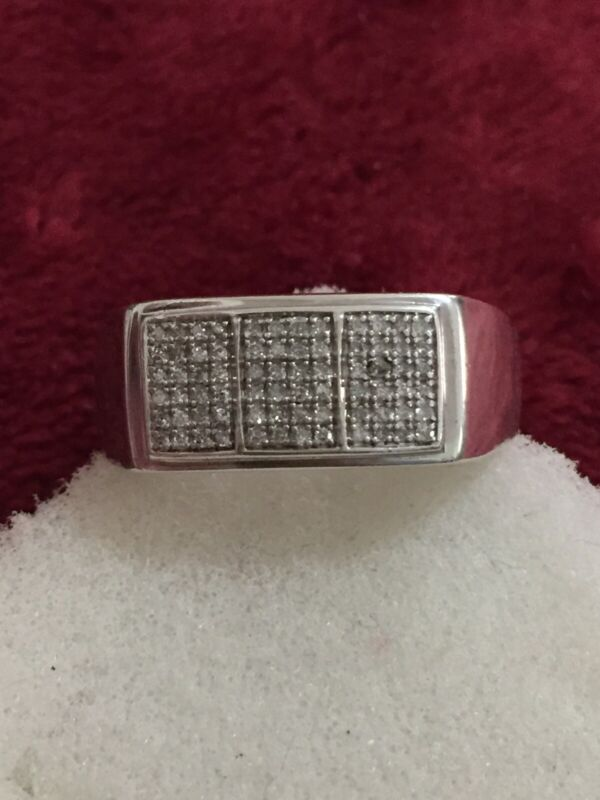 Mens Sterling Silver Diamond Ring Scrap Or Wear Size 11