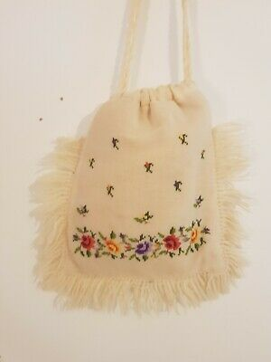 Vintage Embroidered Floral Tassel Cross-stitch Cream Padded Shoulder Bag