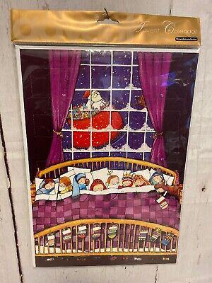 NEW Woodmansterne ADVENT CALENDAR Huge Christmas CARD ~10x14 Santa Children Bed ()