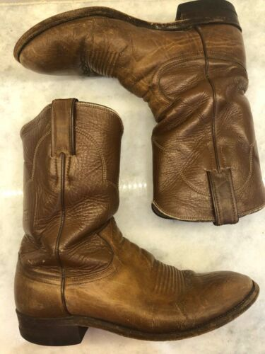 Justin, Cowboy, Boots, Brown, Leather, WESTERN, Distressed, Worn, GUC, Mens, Size, 8