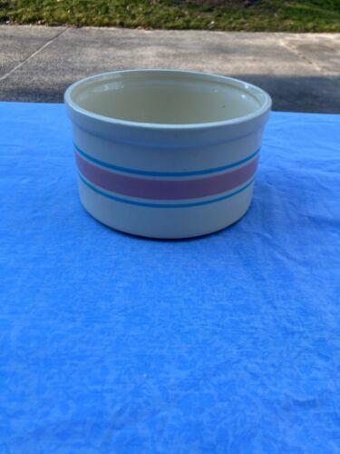 "McCoy ""Pink and Blue Stripe"" 1.5 Qt. Low Crock Bowl - 1263"