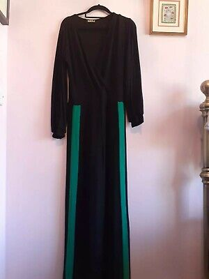 Vintage 1980s Black Jumpsuit with Green/Red Contrast Legs Split Arms UK 14
