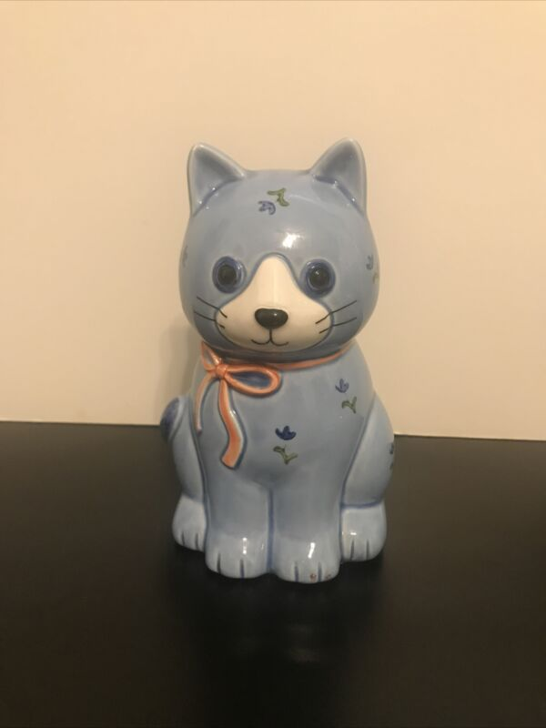 "Vintage Otagiri Japan Whimsical CAT Ceramic Sugar Shaker Blue Floral 6"""