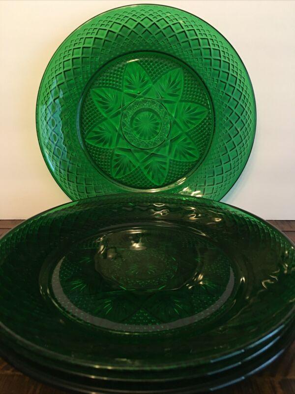 CRISTAL D'ARQUES DURAND ANTIQUE EMERALD SALAD PLATES SET OF 4 GREEN GLASS PLATES