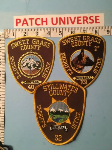 LOT OF THREE  DIFFERENT STILLWATER  COUNTY MT SHERIFF SHOULDER PATCHES   L038