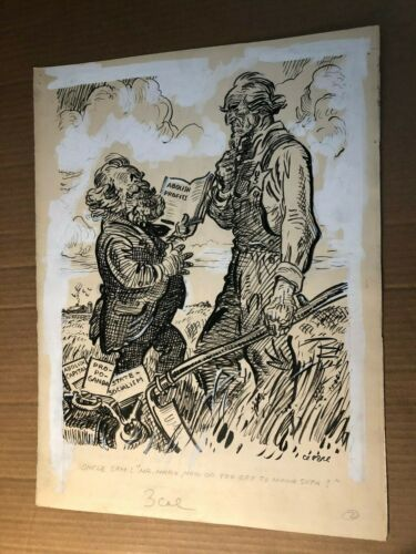 Rare Original Published Signed Illustration Art Oscar Cesare 30s Marx Uncle Sam