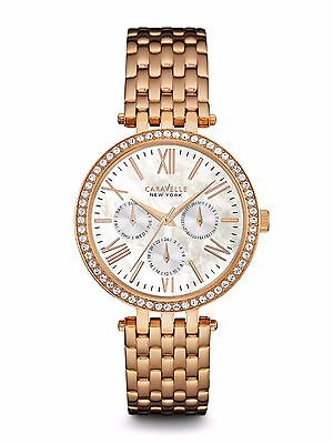 Caravelle New York Women's 44N101 Crystal Accents Quartz Rose Gold 38mm Watch