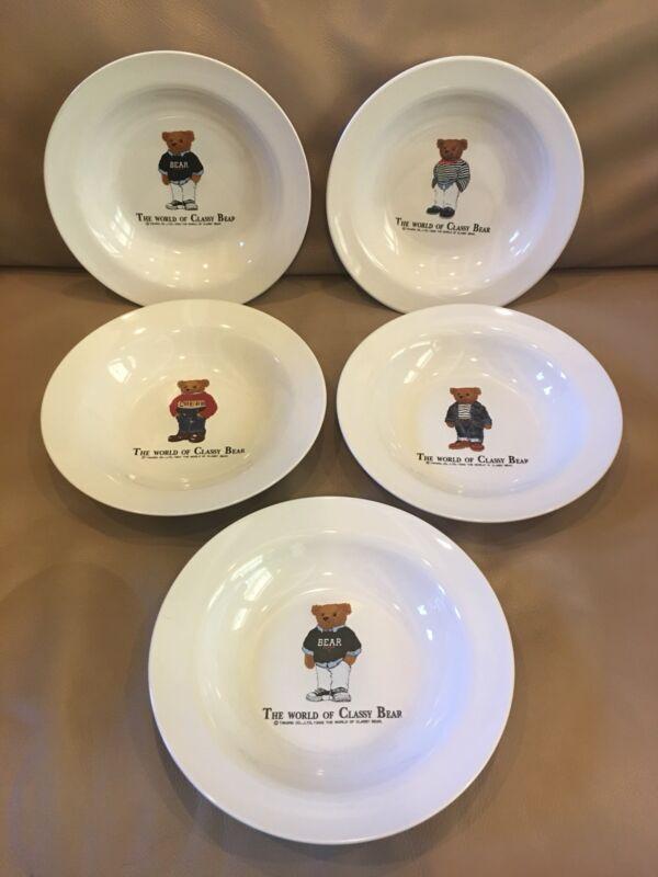 "Takara 5 Pc 1997 World Of Classy Bear 8.5"" Ralph Lauren Porcelain Plates"