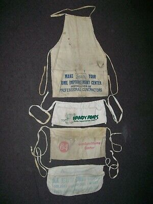 Vintage Lot of 4 Nail Carpenter Aprons Sears Handy Andy 84 Lumber