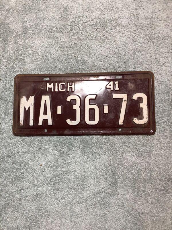 1941 Michigan License Plate MA-36-73
