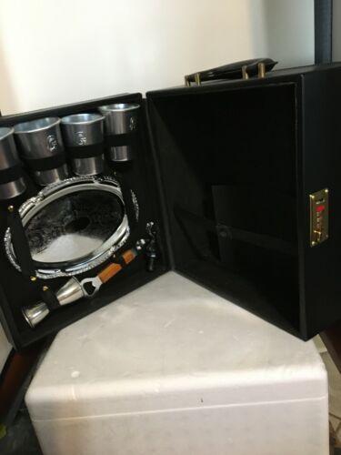 Travel Liquor Bar Black 4 Cup set w/ Tray_ Cap & Wine Cork Opener _ Measure Cup