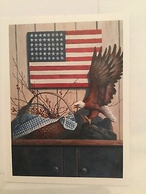 Americana Patriotic Primitive unused greeting card notecard VTG eagle flagbasket ()