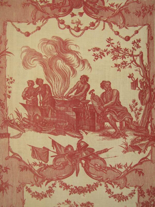 Toile de Jouy Fabric Antique French 18th century Oberkampf 1783-1789