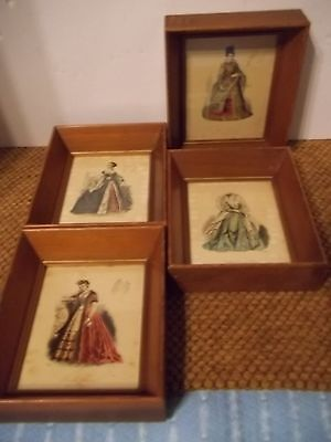 Set of 4 Victorian Pauquet Shadowbox Framed 1875 Mini English & Foreign - Foreign Costumes
