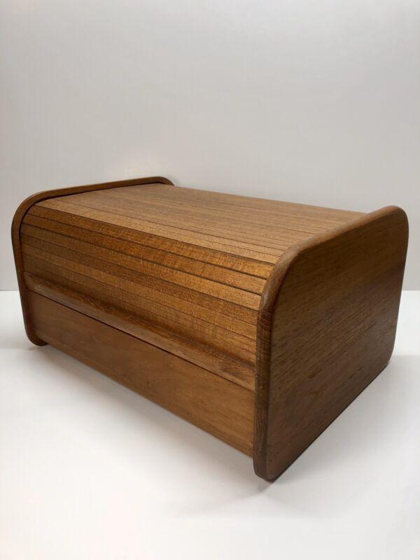 KALMAR Designs Modern Teak Roll Top Tambour CD Storage Organizer - Vintage