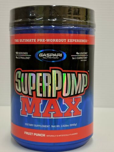 Gaspari SuperPump MAX Pre-Workout 1.41 lbs 40 Servings - Fruit Punch. 01/22.