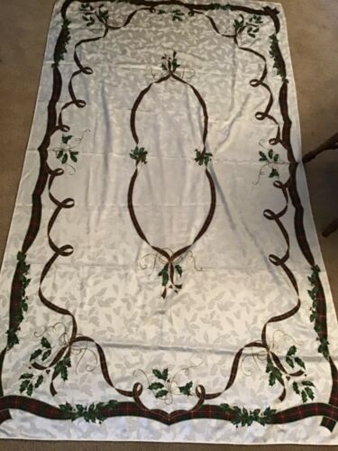 "Lenox Holiday Nouveau Ribbon~100"" X 56"" Rectangle Tablecloth Christmas EUC"