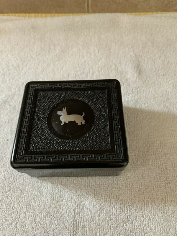 Vintage Bakelite Black Box with Lid and Silver Scottie Dog on Lid