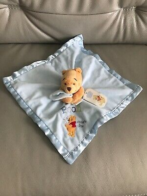DISNEY STORE SNUGGLE TIME TOY WINNIE THE POOH BLUE COMFORTER BLANKET SOFT PLUSH (Snuggle Bear Store)