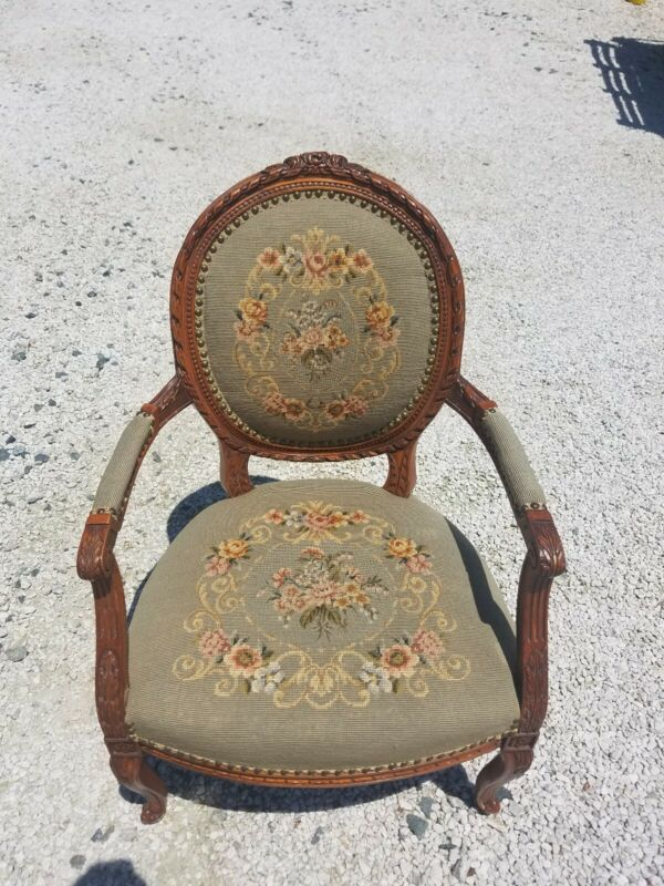 Vintage French Decorative Needlepoint Chair With Carvings