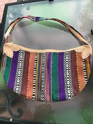 Handcrafted Leather and Weaved Boho Guatemalan Purse