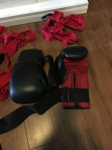 Boxing gloves and chin guards
