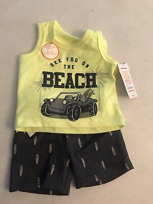 Just One You By Carters Baby Boys 2 Pc Beach Cruiser Tank & Shorts Set Gray/Yell