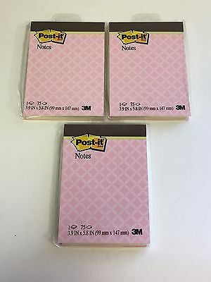 3 Lot Post-it Notes Pad 3.9 X 5.8 Pink Designer Cover-spring Green Notes 75pad