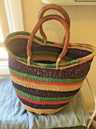 Large/Deep Hand Woven Market Basket Multicolor Leather Handles Tote