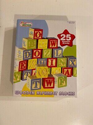 First Learning Wooden Alphabet Blocks Play Set 25 Piece