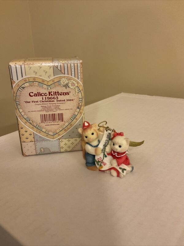 "ENESCO CALICO KITTENS HANGING ORNAMENT ""Our First Christmas"" Dated 2004 #119663"