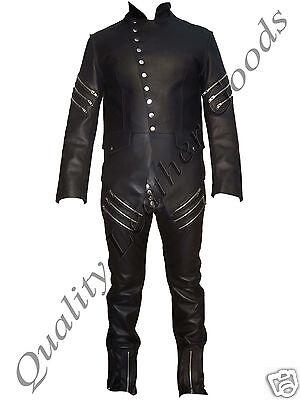 GENUINE LEATHER UNIQUE MILITARY COAT JACKET THIGH FIT PANT TROUSER STEAMPUNK  - Unique Male Costumes
