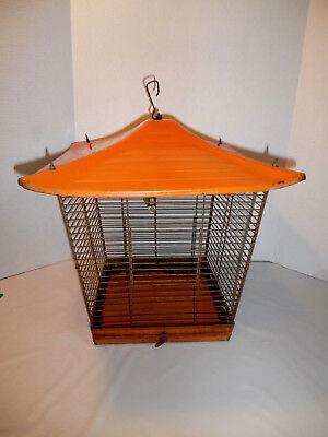 VINTAGE METAL BIRD CAGE PAGODA STYLE IN ORANGE