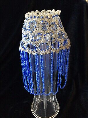 Victorian Edwardian Blue Clear Fringed Beaded Light Bulb Oil Lamp Chimney Shade