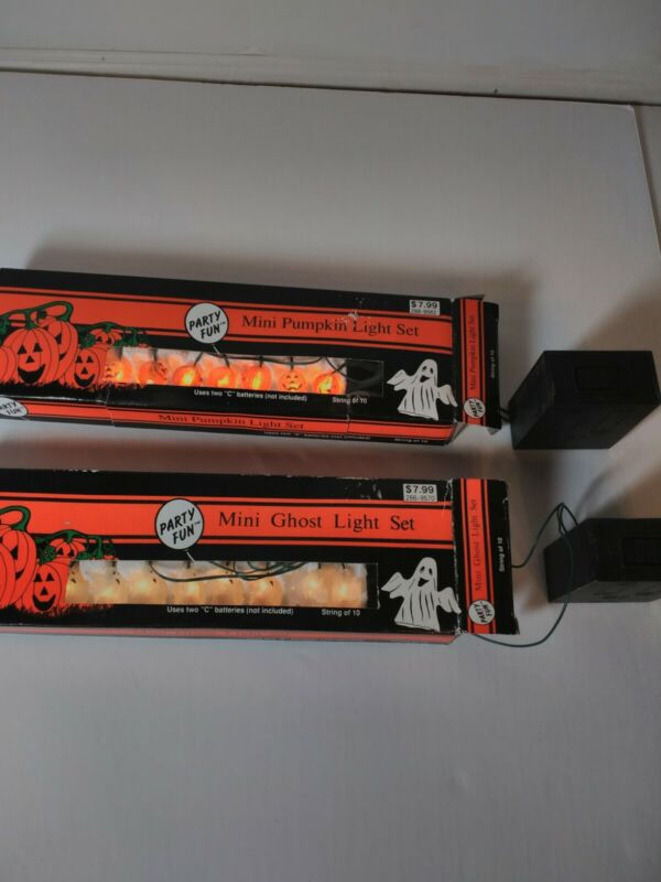 Vintage Halloween Mini Pumpkin And Ghost Lights 1994 String of 10 Party Fun NOS